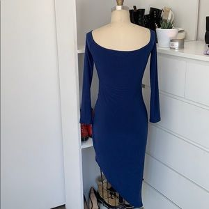 Missguided Dresses - NWOT Missguided Blue Asymmetrical Wrap Dress